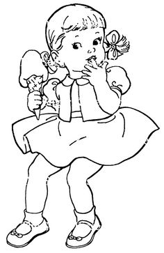 cute girl with ice cream - Coloring Child