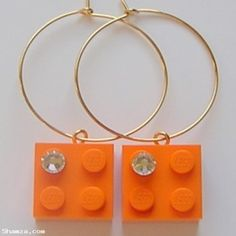 Orange LEGO brick 2x2 with a 'Diamond' color SWAROVSKI crystal on a Silver/Gold plated hoop