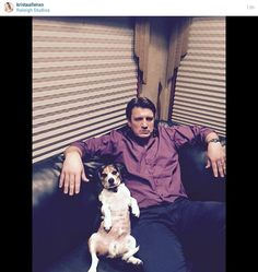 Nathan Fillion, photo by Krista Allen (that's her dog too), at Raleigh Studios (may be where Castle is shot, and why he's wearing a wedding ring?) - posted to her Instagram account