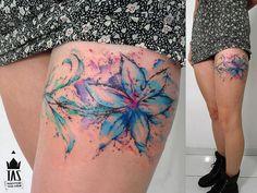 Watercolor Tattoo Flower - Tas Tatto - Brazil