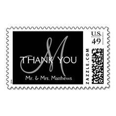 Black Grey Modern Initial Wedding Thank You Postage Stamps