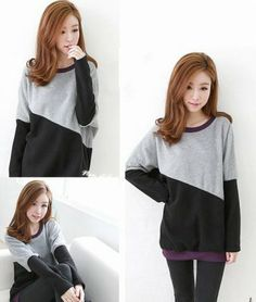 Sweet Giri Simple Design Batwing Color Block Spliced Thicken Velvet Loose Long T-shirts