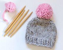 Sombrero del bebé / / gorrita tejida del bebé / / grueso del Knit del sombrero del bebé / / niños de Chunky Knit Hat / / bebé sombrero con pompones / / grueso Knit Beanie Baby / / niños sombreros