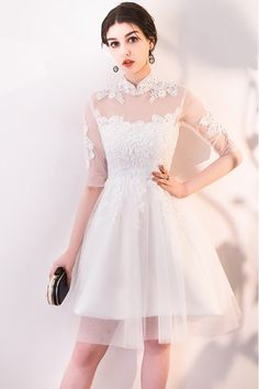 d7d1bbb09bb3 Gorgeous White Lace and Tulle Homecoming Dress with Sleeves - $71.1  #MXL86068 - SheProm.com