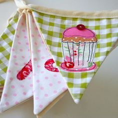 Handmade Girls Cupcake Personalised Bunting