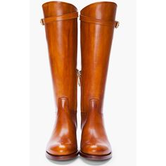 RUPERT SANDERSON Tan Leather Vermont Riding Boots ($358) ❤ liked on Polyvore featuring shoes, boots, обувь, leather equestrian boots, tan knee high riding boots, real leather riding boots, genuine leather riding boots and leather boots