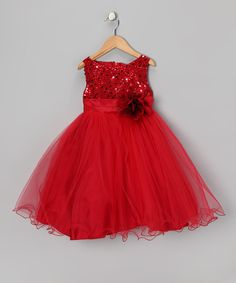 Red Sequin Tulle A-Line Dress - Infant, Toddler & Girls | Something special every day