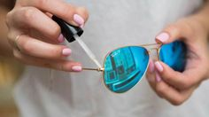 Tighten your sunglasses with a dab of clear nail polish.----If the arm of your sunglasses is a bit loose and you don't have a tiny screwdriver handy, paint a small bit of polish over the hinge to temporarily tighten it.