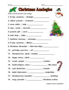 FREE Christmas Analogy Worksheet with Answer Key