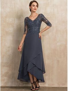 A-Line Scoop Neck Floor-Length Chiffon Lace Mother of the Bride Dress With Ruffle Beading Sequins - JJ's House Mother Of The Bride Dresses Long, Mother Of Bride Outfits, Mothers Dresses, Long Mothers Dress, Bride Groom Dress, Bride Gowns, Robes D'occasion, Satin Cocktail Dress, Chiffon Evening Dresses