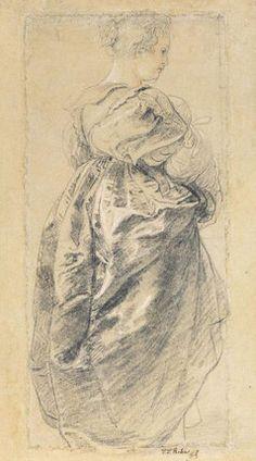 Rubens - Study of a female figure (Hélène Fourment), c. 1632; Black, white and red chalk; Städel Museum, Frankfurt, Germany