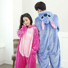 f3788fef01 Women Men Blue Pink Stitch Unisex Flannel Hoodie Pajamas Costume Cosplay Animal  Onesies Sleepwear Adult Pyjama