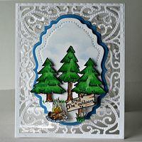 Stamps - North Coast Creations Happy Camper, ODBD Custom Vintage Flourish Pattern Die, ODBD Custom Vintage Labels Die