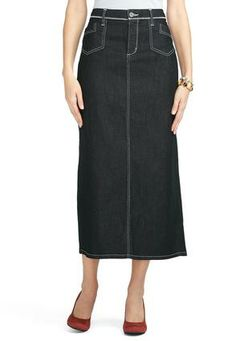 Cato Fashions Zigzag Stitch Long Denim Skirt CatoFashions