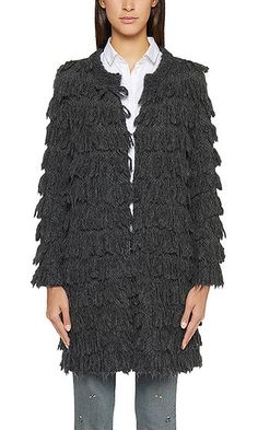 Casual coat with fringe | marc-cain.com/en