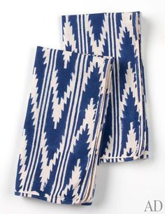 Ditto Blockprint napkins by Madeline Weinrib, available in blue (shown) or black, $120 for a set of six