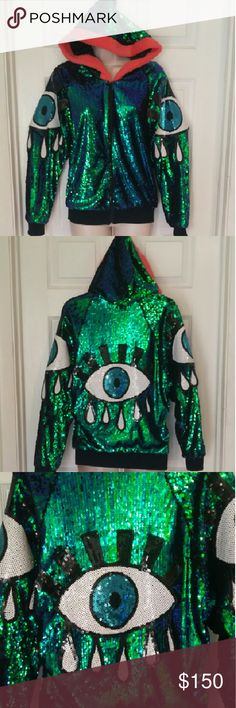 Amazing sequined 3rd eye jacket ?? Brand new!! Super trippy, psychedelic, peacock sequin jacket with third eye, perfect for any festival, rave, party or when you just want to look fabulous! Pink faux fur around the outside if the hood is unbelievably soft! No tag, fits small / medium. Brand new, never worn, only taken out of the package for photos. Jackets & Coats