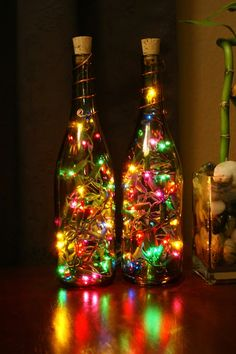 Garrafas e luzinhas de Natal
