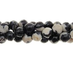 Faceted Agate 8mm Gemstone Bead Strand, Coffee And Cream