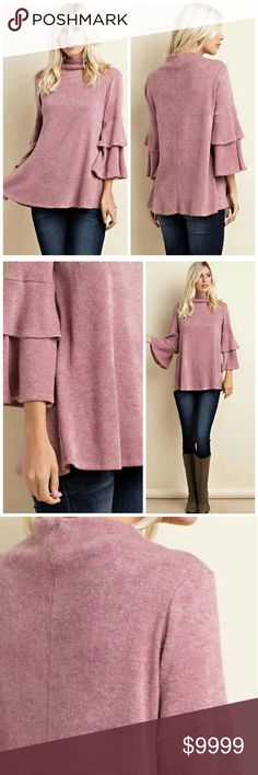 Like to be notified when in! mock neck sweater A chic and modern update to your sweater collection! Mock neck, fuzzy knit shell, and long tiered ruffled sleeves. In beautiful rose color. 50% rayon, 30% polyester, 20% nylon. Made is USA. Item due to arrive first week of December. Like to be notified when in! Limited quantities. Price firm unless bundled. Sweaters