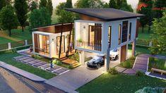 แบบบ้านโมเดิร์นชั้นครึ่ง 3 ห้องนอน 2 ห้องน้ำ สวยทันสมัย อบอุ่นน่าอยู่ - ที่นี่มีสาระ 2 Storey House Design, House Front Design, Small House Design, Modern House Design, Stilt House Plans, House On Stilts, The Sims, Modern Architecture House, Pavilion Architecture