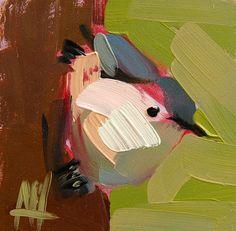 Nuthatch no. 27 original bird oil painting by Angela Moulton prattcreekart