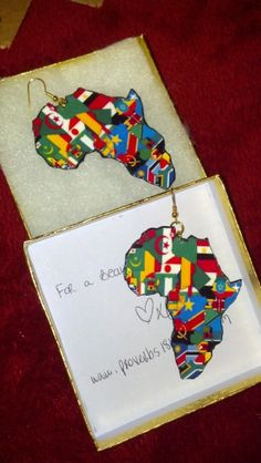 All Flags of Africa  Africa Shaped Earrings  by proverbs1816, $16.00