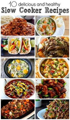 10 Delicious and Healthy Slow Cooker Recipes ~ Best Crock Pot meals Healthy Slow Cooker, Healthy Crockpot Recipes, Slow Cooker Recipes, Cooking Recipes, Crockpot Meals, Slow Cooking, Dinner Dishes, Main Dishes, Entree Recipes