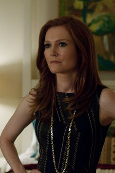 """""""Elie Tahari"""" navy and black shift dress with """"Tiffany & Co."""" Tiffany T Collection T Chain Necklace worn by Abby Whelan (Darby Stanchfield) on Scandal, Season 4."""
