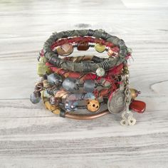 Silk Road Gypsy Bangle Stack - Balkh - 6 Bohemian Tribal Bracelets,  Silk Wrapped and Beaded- stacking madness