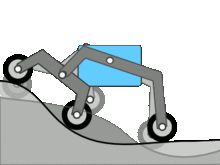 In motion - incorrectly shows chassis staying level; the chassis actually maintains the average of the two rockers Mechanical Design, Mechanical Engineering, 3d Cnc, Rc Cars And Trucks, Robot Design, Buggy, Diy Car, Go Kart, Metal Working