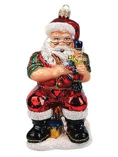 Santa Claus Working on Nutcracker Polish Glass Christmas Ornament Decoration