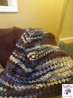 $125.00: Crochet afghan, warm handmade blanket, Rolling Waves bed spread