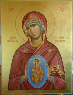 Icon of the Theotokos of the Sign. Byzantine Icons, Byzantine Art, Religious Icons, Religious Art, Jesus Christ Images, Blessed Mother Mary, Madonna And Child, Catholic Art, Orthodox Icons