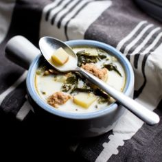 Comforting dinner: Soup make with kale, sausage, and a creamy, savory broth.