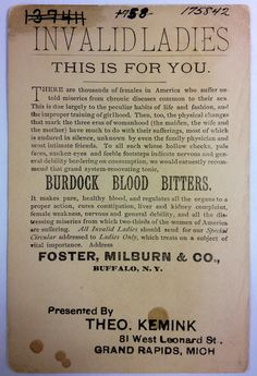 Trade card for Burdock Blood Bitters presented by Theo. Kemink, 81 West Leonard - c. 1890 - Part of the Public Museum collection, http://www.grmuseum.org