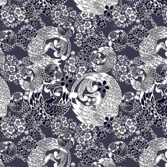 Flora (Indigo) - Geometric Floral Fabric - The Textile District design to custom print for home decor, upholstery, and apparel. Pick the ground fabric you need and custom print the designs you want to create the perfect fabric for your next project. https://thetextiledistrict.com #designwithcolor #fabrics #interiordesign #sewing