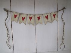 Valentine Hearts Mini Burlap Banner, Valentines Day, Wedding Banner
