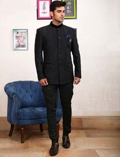 Textured pattern black colored jodhpuri suit Tuxedo Coat, Buy Suits, Achkan, Off Black, Black Party, Men Online, Blazers For Men, Wedding Suits, Mens Suits
