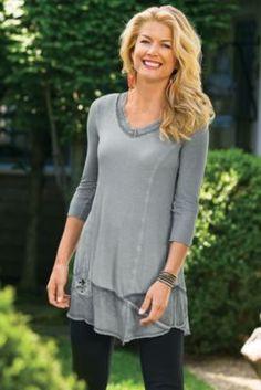Petites Fleur De Lis Shirt - Rhinestone Shirt, Crinkled Chiffon Top | Soft Surroundings