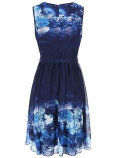 Tmavomodré šaty s kvetinovou potlačou Little Mistress