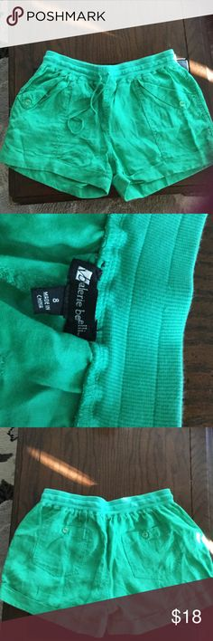 Green linen shorts Green linen shorts ; never worn; pockets in front and back; elastic type waist with tie; perfect condition; adorable for summer Shorts