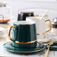 Black And White Coffee, White Coffee Cups, Coffee Cup Set, Black White, Best Coffee Mugs, Coffee Latte, Cute Kitchen, Kitchen Decor, Kitchen Dining