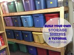 The Homestead Survival | How to Create Storage Shelves for Plastic Bins Project | http://thehomesteadsurvival.com