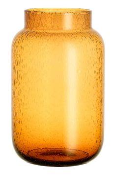 Vase en verre, grand modèle: Grand vase en verre avec bulles d'air apparentes…