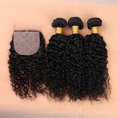 Malaysian Virgin Hair Deep Curly With Closure Cheap 3 Bundles Human Hair With Closure 7A Malaysian Virgin Hair With Closure