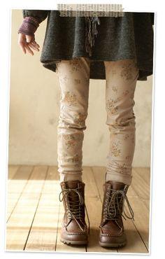 WANT!! beige flower jeans, mori girl fashion