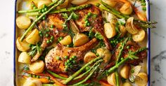 For a hearty midweek meal, try this mustard pork tray bake served with garlic butter vegetables.