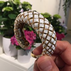 More summertime jewels: this gold and enamel cuff from @davidwebbjewels is perfect for your post-Memorial Day look!!! @sothebys sale of #FineJewels on June 10 #sothebysjewels #davidwebb
