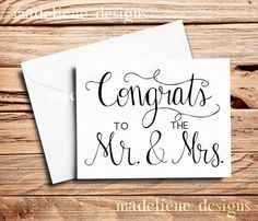 Congrats To The Mr.&Mrs. Card  Wedding Card by MadelieneDesigns